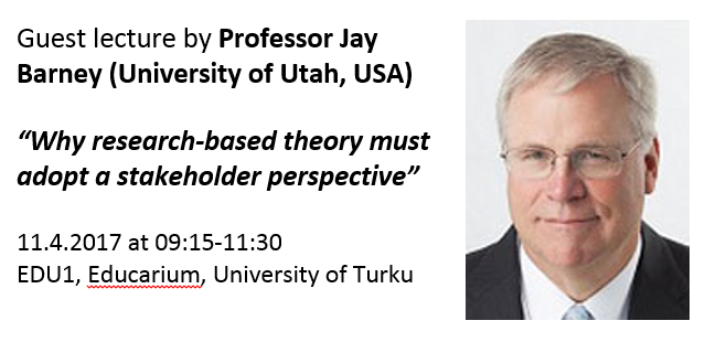 Guest lecture 11.4.2017: Jay Barney (University of Utah)